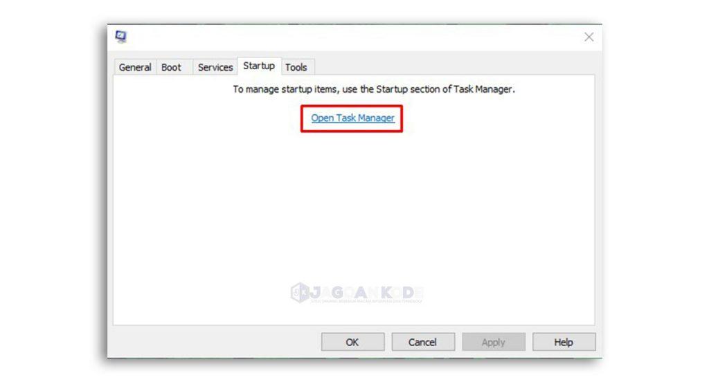 nonaktifkan aplikasi startup melalui task manager