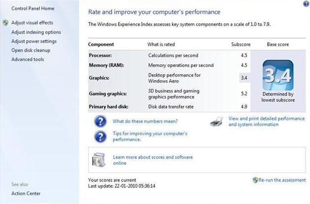 Cara Menggunakan Windows Experience Index