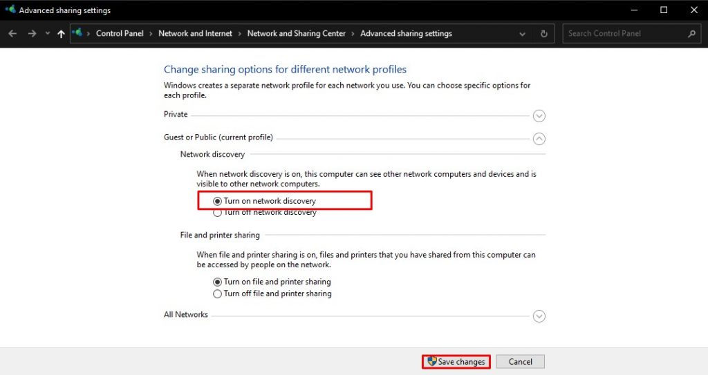 Mengatasi Network Discovery is Turned Off di Windows 10